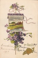 Carte Gauffrée - 1er Avril - Bouquet Fleurs, Poisson - 1909 - 1er Avril - Poisson D'avril