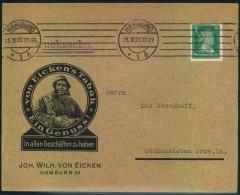 1927, Advertising Covers, Lettre Publicite, Reklame, Werbung, Tabak, Hamburg - Deutschland