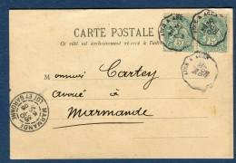 """France - Oblitération Ambulant  """" Auch à Agen """" Sur Carte Commerciale De Layrac En 1905   Voir 2 Scans - Réf. S 152 - Postmark Collection (Covers)"""