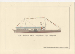 Alt473 Piroscafo Piemonte 1904 Navigazione Lago Maggiore Disegno Rappresentazione Nave Steamer Bateau à Vapeur - Barche