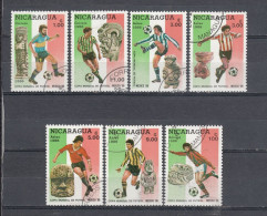 Nicaragua 1986 Mexico World Cup Football´86, Soccer Championship FIFA Flag SC 1507-1514 7 Diff Used  FULL SET (20 - 207) - Nicaragua