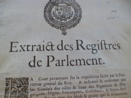 Affiche Placard Peste Extraits Des Registres Du Parlement 1629 Digne Seyne, Draguignan Circulation Des Grains 25.5 X 35 - Affiches
