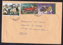 Libya: Cover To Finland, 3 Stamps, Battle, Classic Car, Automobile, Rare Real Use! (traces Of Use) - Libië