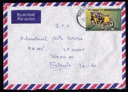 Libya: Airmail Cover To Finland, 1985, 1 Stamp, Classic Car, Automobile, Rare Real Use! (traces Of Use) - Libië