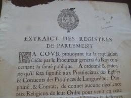 Affiche Placard Peste Extraits Des Registres Du Parlement 1628 Languedoc, Dauphiné Comtat Interdit D'obédience 25.5 X 35 - Affiches