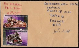 Libya: Airmail Cover To Finland, 1984, 2 Stamps, Classic Steam Train, Rare Real Use! (traces Of Use) - Libië