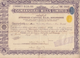 HYDERABAD  2A Yellow Embossed Revenue + 2A India Blue Revenue On 100 Rs Osmanshahi Share Certfct # 92658  India  Inde - Textile