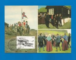 Färöer Inseln 1982 , Ölavsoku - & Dansimyndir - Maximumkarte - 7. 6. 1982 - 2 Scan - - Faroe Islands
