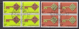Europa Cept 1968 Luxemburg 2v Bl Of 4 Used 1st Day - Stamps With Full Gum (32062X) - 1968
