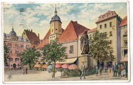 Marktplatz In Jena - Illustration - Germany - Sent From Germany To Estonia Tallinn 1929 - Jena