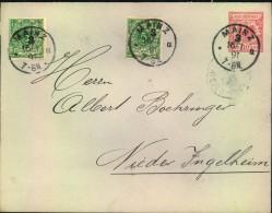 1891, 10 Pfg. Krone/Adler Umschlag, Großformat Mit Zusatzfrankatur Ab MAINZ - Deutschland