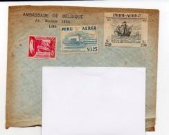 38-1 ) Enveloppe Timbrée Embassade De Belgique Au Pérou - Pérou