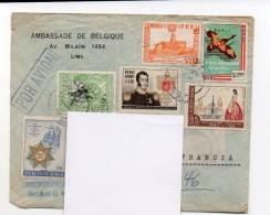 40-1 ) Enveloppe Timbrée Embassade De Belgique Au Pérou - Pérou