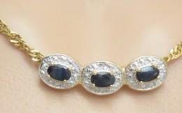 Pendente In Argento Sterling Laminato Oro Con Zaffiri E Diamanti - Pendenti