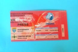 MACEDONIIA : NORTHERN IRELAND - 2012. UEFA EURO U-21 Qualif. Football Soccer Match Ticket Foot Billet Biglietto Fussball - Eintrittskarten