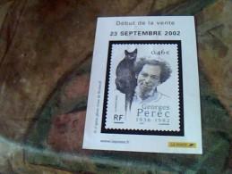 Document Philathelique Intitule Debut De La Vente D Un Timbre  23 Septembre 2002 Georges Perec - Documents Of Postal Services