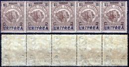 Italia-F01459 - Eritrea 1924: Sassone N. 80 (++) MNH - 9 Simili Striscie Di 5 Valori (non A Scelta) - Eritrea