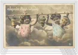BAISSE DE PRIX !! CPA JOYEUX ANNIVERSAIRE ENFANTS LAMPIONS 1910 - Geburtstag