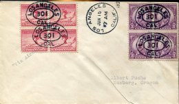 12740 U.s.a.  Circuled Cover Olympiade Of  Los Angeles 15 June 1932  2+2 Bloc Of 4