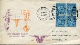 12741 U.s.a.  Circuled Cover Olympiade Of  Los Angeles 15 June 1932 -  Bloc Of 4