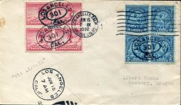 12743 U.s.a.  Circuled Cover Olympiade Of  Los Angeles 15 June 1932 - 2 X  Bloc Of 4