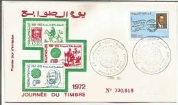 MAROC FDC 1972 JOURNEE DU TIMBRE - Marruecos (1956-...)