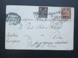 China 1902 Doppelfrankatur Coiling Dragon / Franz. Post China. Nach Pola Weitersandt Nach Wien. Sehr Seltene Karte! RRR! - China
