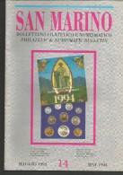 SANBF14---   SAN MARINO,  BOLLETTINO FILATELICO,   N° 14,   1994, - FDC