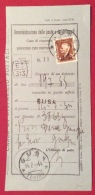 SUSA TORINO SU MARCA DA BOLLO LIRE UNA   SU MOD.C ED.1943  CASSE DI RISPAMIO POSTALE - Marcophilia