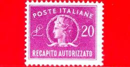 Nuovo - MNH - ITALIA - 1955 - Recapito Autorizzato - Italia Turrita, Formato Piccolo, Filigrana Stelle - 20 L. - 1946-60: Nuevos