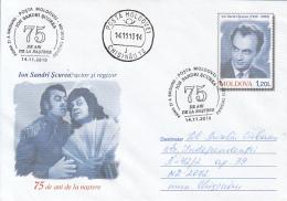 CINEMA, ION SANDRI SCUREA, ACTOR AND DIRECTOR, COVER STATIONERY, ENTIER POSTAL, OBLIT FDC, 2010, MOLDOVA - Cinema