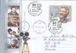 CINEMA, MIHAI VOLONTIR, ACTOR, COVER STATIONERY, ENTIER POSTAL, OBLIT FDC, 2014, MOLDOVA - Cinema