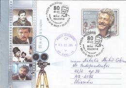 CINEMA, MIHAI VOLONTIR, ACTOR, COVER STATIONERY, ENTIER POSTAL, OBLIT FDC, 2014, MOLDOVA