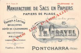 """¤¤   -   PONTCHARRA    -   Carte De Visite De """" Ph. Grayel """" -  Manufacture De Sac En Papiers  -  Voir Description - Cartes De Visite"""