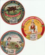 Camembert Du Cotentin - Laiterie De Quinéville Manche - 3 étiquettes Différentes Neuves - Fromage Vache - Cheese
