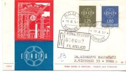 FDC - ITALIA -  EUROPA -  ANNO 1959 - TIMBRO ROMA FILATELICO - VIAGGIATA - R - 6. 1946-.. Repubblica
