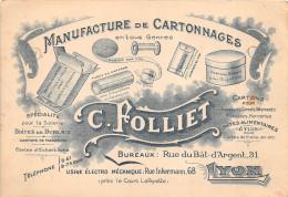 """¤¤   -   LYON  -  Carte De Visite De """" C. Folliet """" De La Manucture De Cartonnages - Usine 68 Rue Inkermann  -  ¤¤ - Cartes De Visite"""