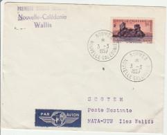 Nouméa à Wallis 1957 - 1er Vol -  Calédonie - Ertsflug Inaugural Flight - Lettre - Luftpost