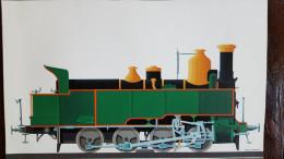 Paul Funken, 13 Prenten Van Locomotieven, (ongeveer 27 Cm Op 40 Cm) Dik Papier - Ferrovie
