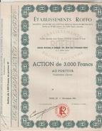 ACTION TITRE DE 3000 FRANCS AU PORTEUR - Etablissements ROLLO 90 Rue Du Chemin Vert PARIS 1/11/1951 - Actions & Titres