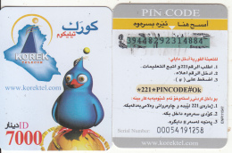 KURDISTAN(North IRAQ) - Korek Telecom Mini Prepaid Card 7000 IQD, Used