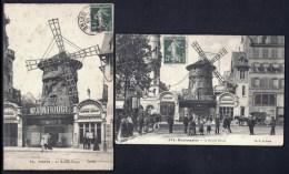 LOT 2 CPA ANCIENNES- PARIS (75)- LE MOULIN ROUGE AVEC TRES BELLE ANIMATION- GROS PLANS - Frankreich