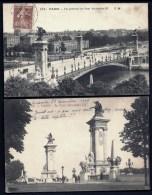 LOT 2 CPA ANCIENNES- PARIS (75)- PONT ALEXANDRE III- VUE DE PROFIL TRES ANIMÉE ET ENTRÉE - Brücken