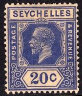 Seychelles 1921 20c Dull Blue SG113a - Mounted Mint - Seychelles (...-1976)