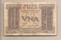 "Italia - Banconota Circolata Da 1 Lira ""Impero"" P-26 - 1939 - [ 1] …-1946 : Koninkrijk"