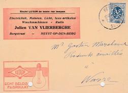 Heyst Op Den Berg ;carte Publicité ,J.Van Vlierberghe ,ampoule Luxor ,electriciteit - Radio ,.. - Heist-op-den-Berg