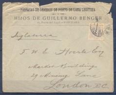 1880 , BARCELONA , SOBRE CIRCULADO A LONDRES , MAT. ESTAFETA DE CAMBIO , ED. 204 , LLEGADA - 1875-1882 Royaume: Alphonse XII