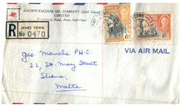 (717) Registered Cover From Gold Coast James Town (now In Ghana) To The Island Of Malta - 1952 - - Costa D'Oro (...-1957)