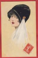 Art Déco : Très Joli Dessin De Femme Avec Un Chapeau Noir éditeur Harrap London ; 2 Scans . - Illustratori & Fotografie