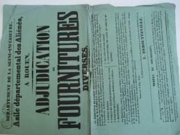 Asile Départemental Des Aliénés/Seine-Inférieure/Adjudication De Fournitures Diverses/Rouen/1845 AFF19 - Affiches